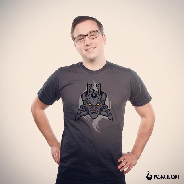 black t-shirt with samurai oni